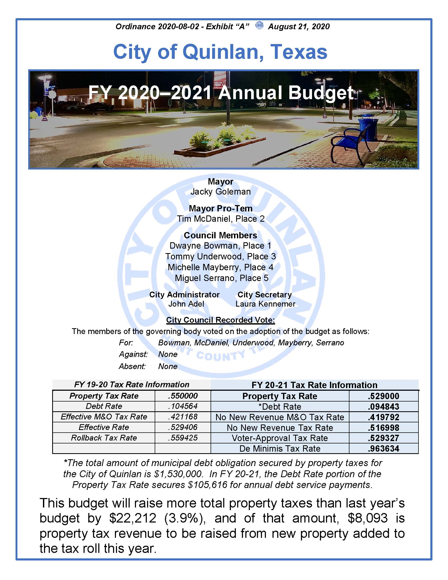 FY 20-21 Final Budget Approved - Cover